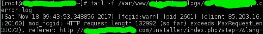 mod_fcgid: HTTP request length 137536 (so far) exceeds MaxRequestLen (131072)